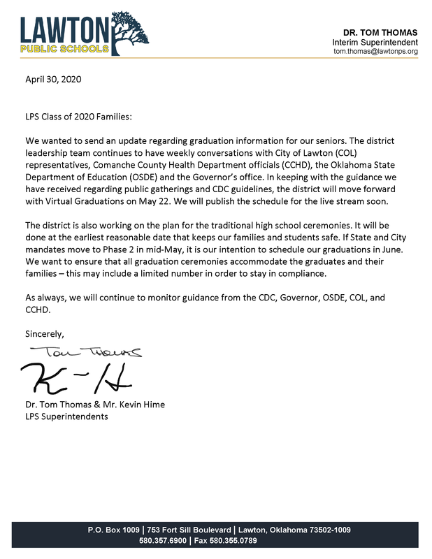 Letter to Class of 2020 families