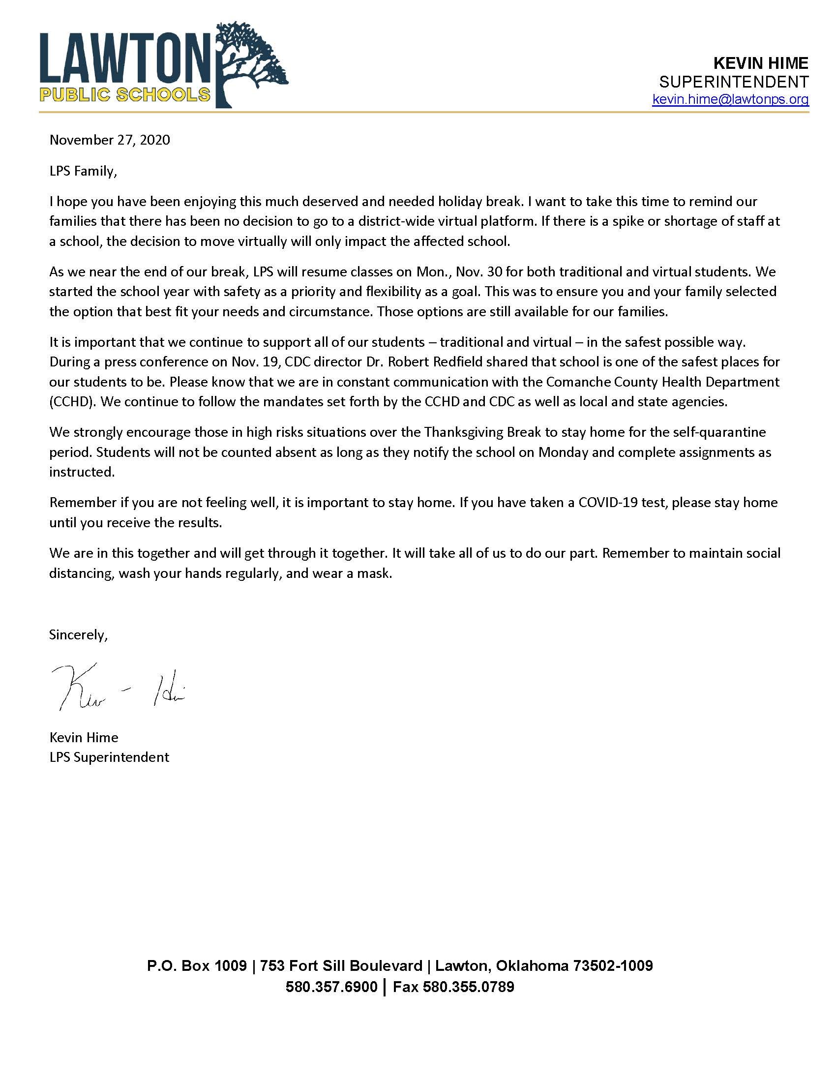 Letter from Superintendent Hime