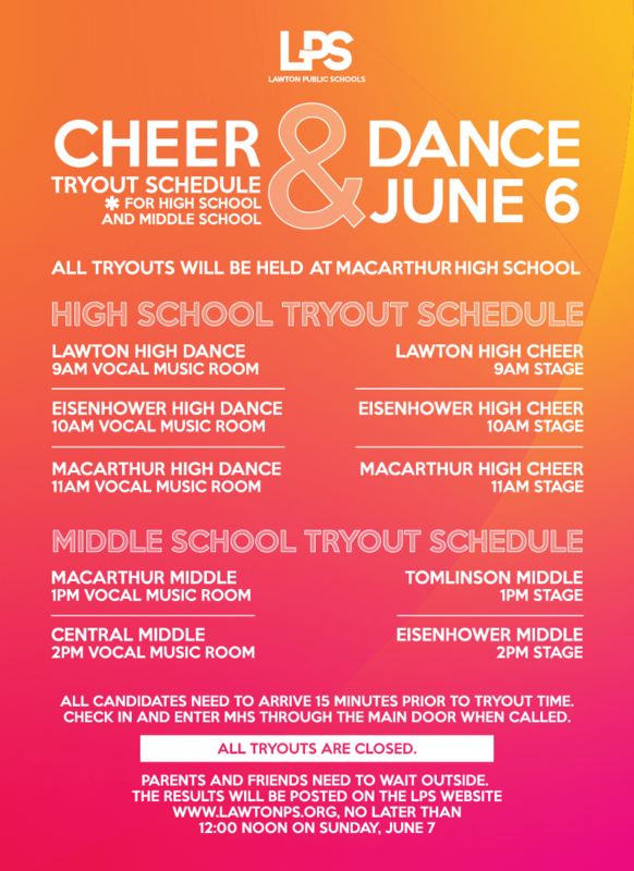 Cheer & Dance Tryout Schedule Flyer