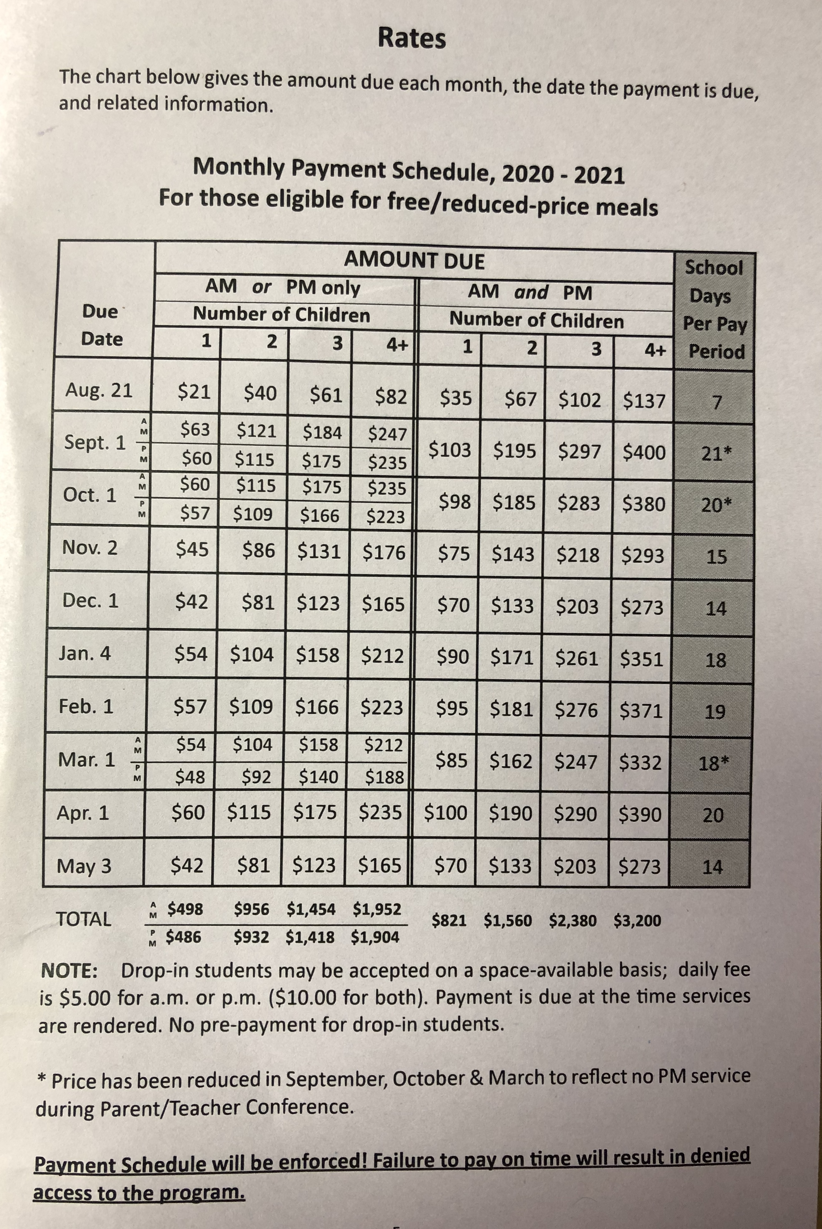 Payment schedule for X-Tended Time *for those eligible for FREE and REDUCED priced meals
