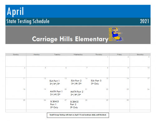 CHES Testing Schedule 20-21