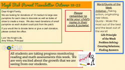 Parent Newsletter 10/19/20