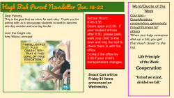 Parent Newsletter 1.18.21