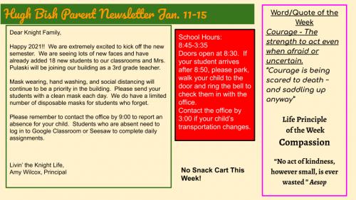 1/11/21 Parent Newsletter