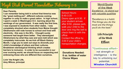 Parent Newsletter 2.1.21