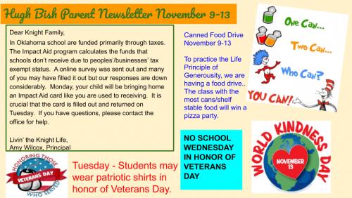 11/9 Parent Newsletter