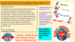 Parent Newsletter 11/6/20
