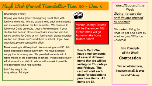 11/30 Parent Newsletter