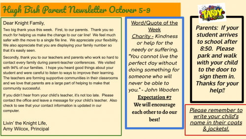 10/5 Parent Newsletter