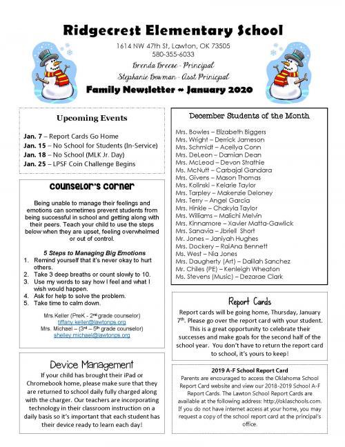 January Newsletter Ridgecrest