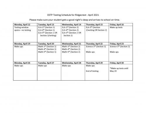 Ridgecrest Testing Schedule