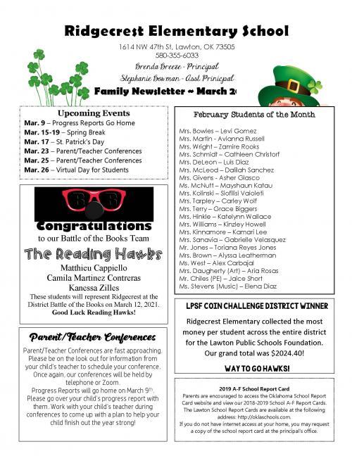 March Family Newsletter Ridgecrest