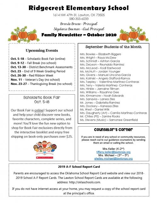 october family newsletter