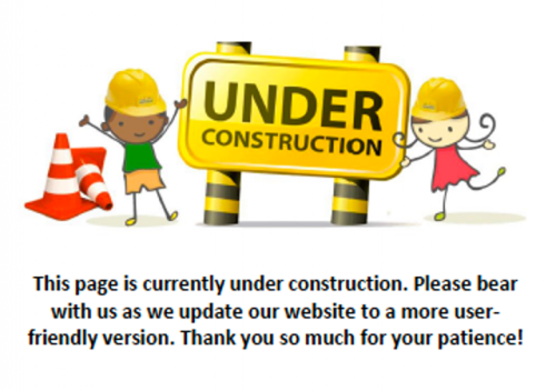 cartoon kids standing by an under construction sign