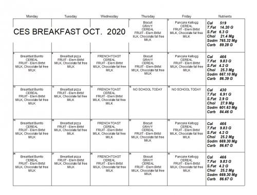 Picture of CES Breakfast Menu for Download