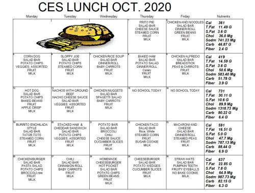 Picture of CES Lunch Menu for Download