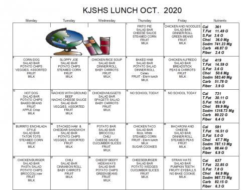 Picture of KJSHS Lunch Menu for Download Link