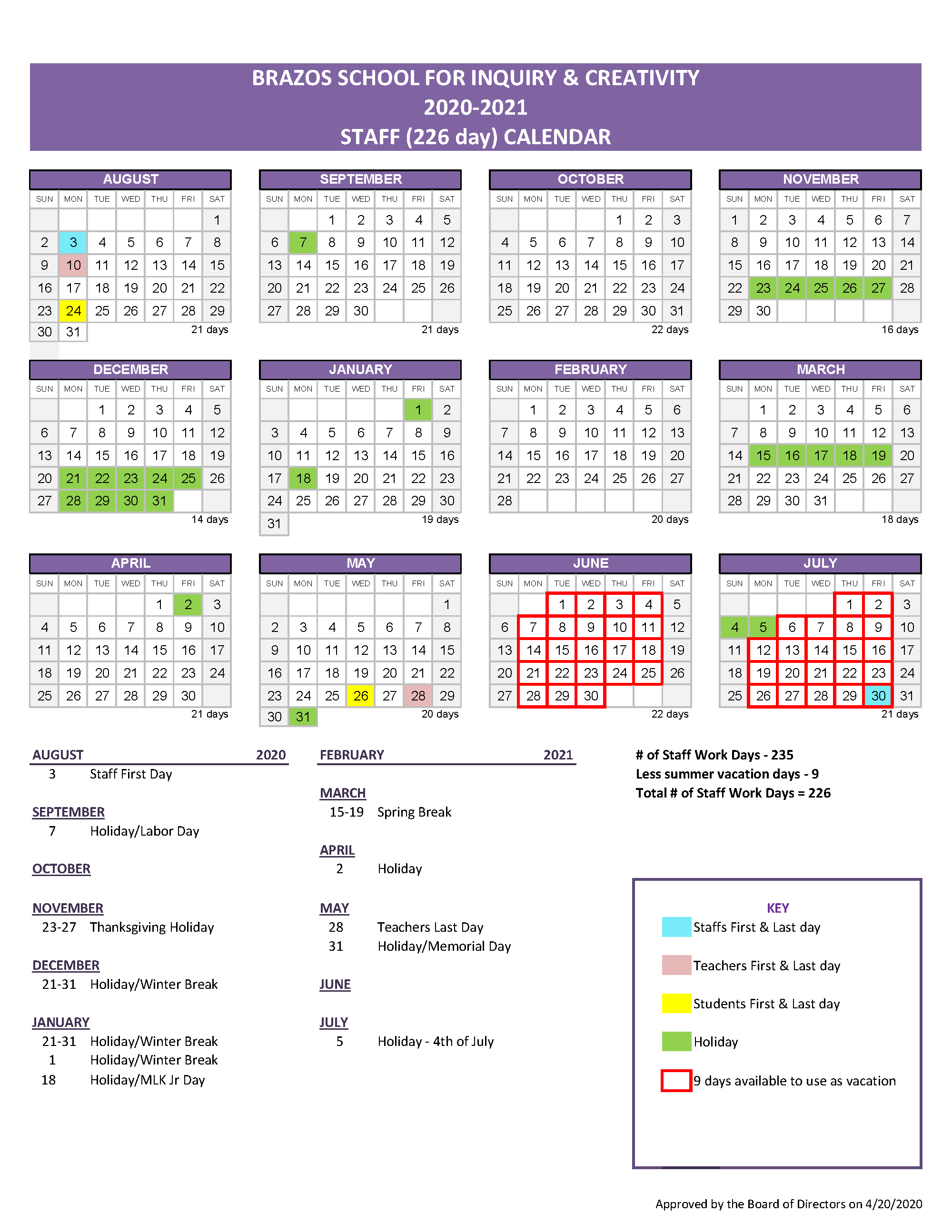 Staff Calendar