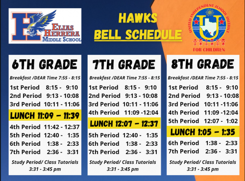 Bell Schedule for Herrera Middle School Students