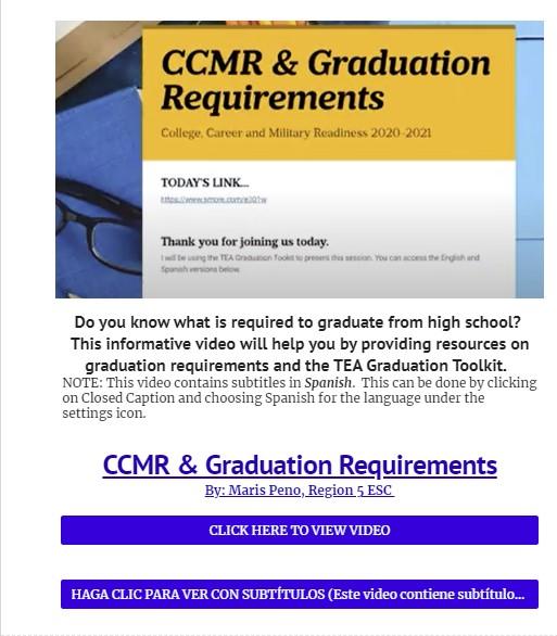 CCMR & GRADUATION REQUIREMENTS