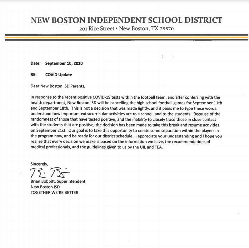 Letter addressing the cancellation of the varsity football games