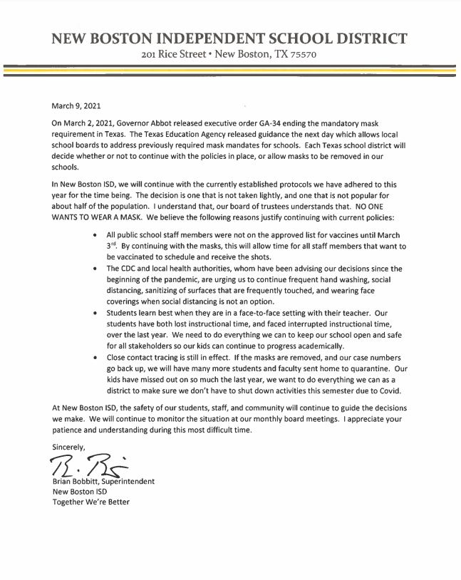 Letter from Mr. Bobbitt