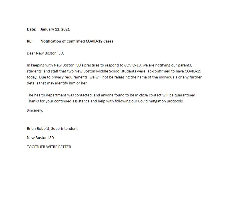 January 12, 2021 Letter