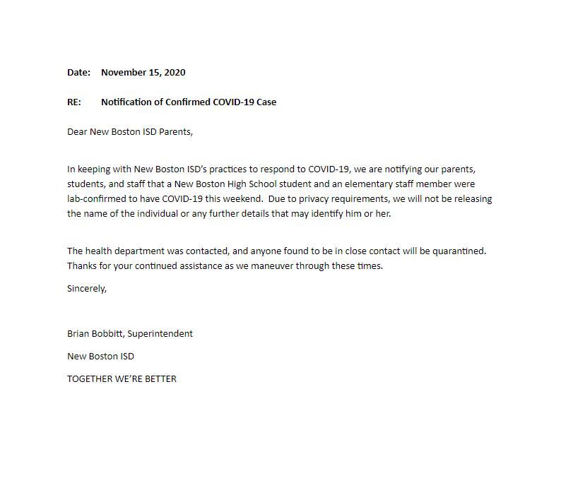 November 15, 2020 letter