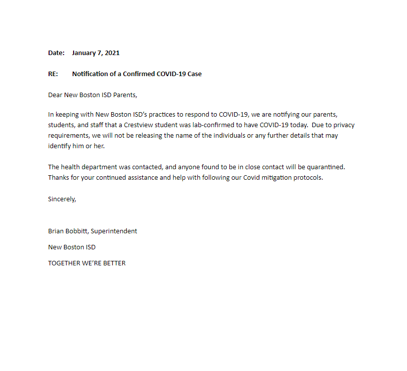 January 7, 2021 letter