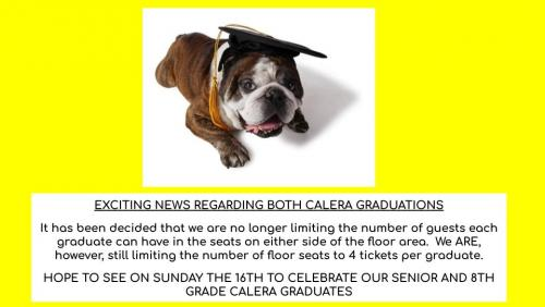 Graduates may have as many family members as they'd like sitting in the stands. Floor seats are still limited to four.