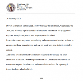 Concerning Brown Elementary on Wednesday February 26, 2020