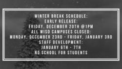 Early release and winter break schedule