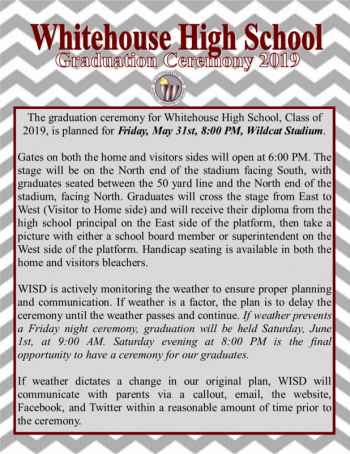 WHS graduation ceremony contingency plan