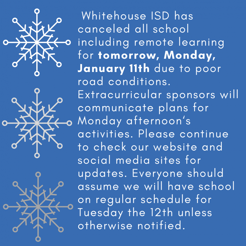 No school for Monday, January 11th due to weather