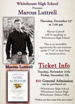 Former Navy Seal Marcus Luttrell visiting Whitehouse ISD