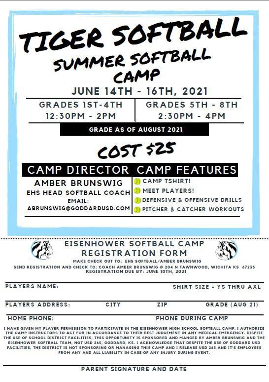 Tiger Softball Summer Camp!