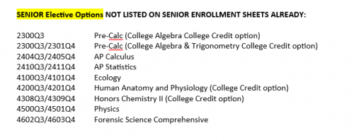 Senior Electives Not Listed