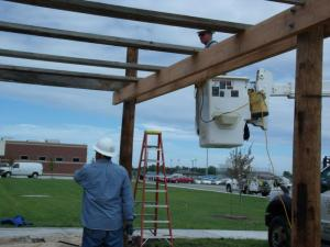 shade pergola being built by Westar Energy's Green Team using repurposed wood