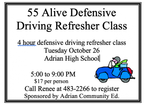 55 Alive Defensive Driving Refresher Class