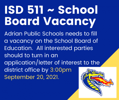 School Board Vacancy - due Sept 20