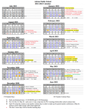 21-22 District Calendar