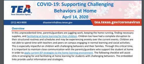 TEA Managing Bad Behaviors at Home