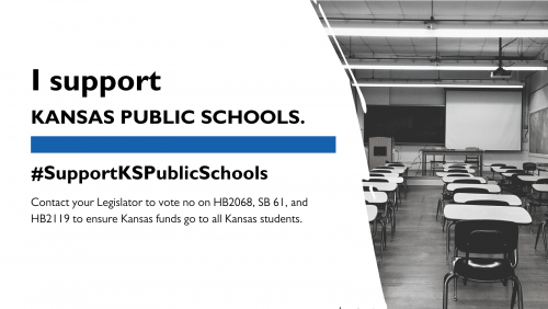Text says I support Kansas Public Schools with the same in a hashtag.