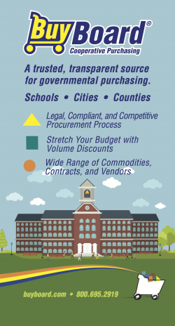 Buyboard graphic text: BuyBoard logo, A trusted, transparent source for governmental purchasing. Schools. Cities. Counties: Legal, compliant, and competitive procurement process, stretch your budget with volume discounts and wide range of commodities,  contracts, and vendors. Images of school building with people in the yard.