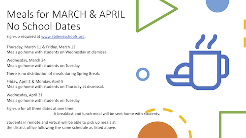 Meals for March & April No School Dates