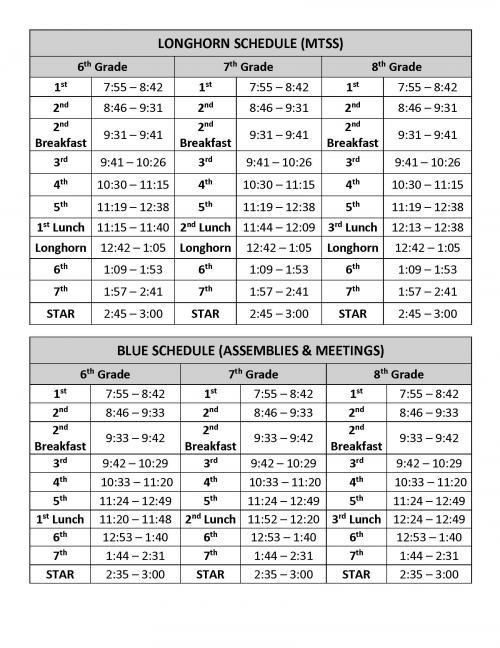 Middle Schools Schedule