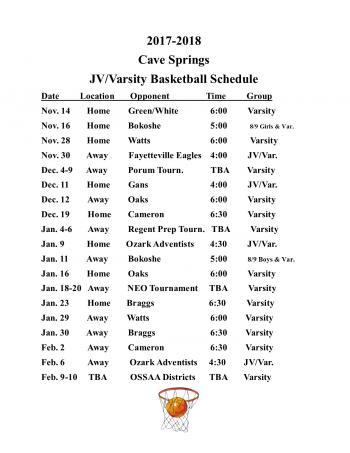 JV/Varsity schedule