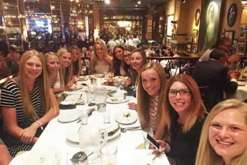 team photo at dinner table