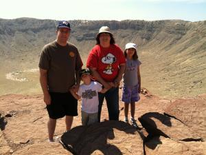 My family at the Meteor Crater in AZ.