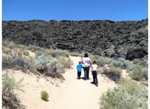 The kids and I walking through Petroglyphs National Mounment.
